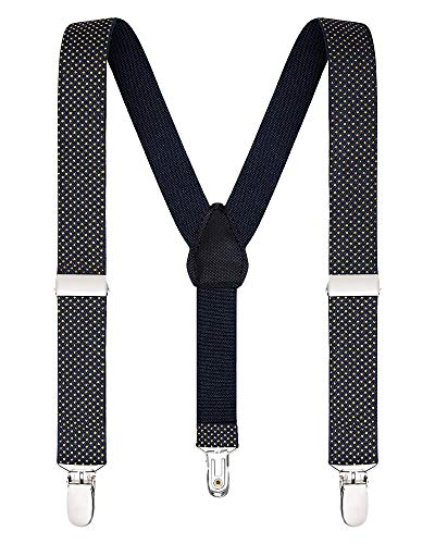 Buyless Fashion Suspenders for Kids and Baby Adjustable Elastic Solid Color 1 inch - 5102-Navy-Orange-Polka-30 (Kids Camo Suspenders)