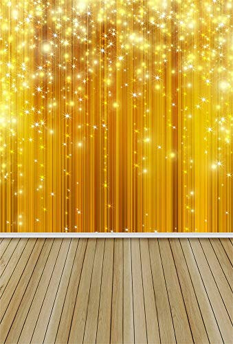Vinyl Thin Backdrop 5x7FT Photography Background Sparkle Stars Stage Light Party Festival Celebration Wood Floor Scene Background 1.5(W) x2.2(H) m Backdrop for Video Photo Studio Props
