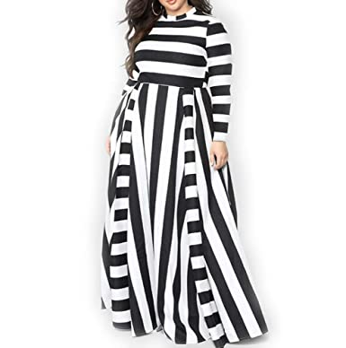 YUHENG Women Plus Size Dress Long Sleeves Stripes Party Dress Long Maxi  Dress