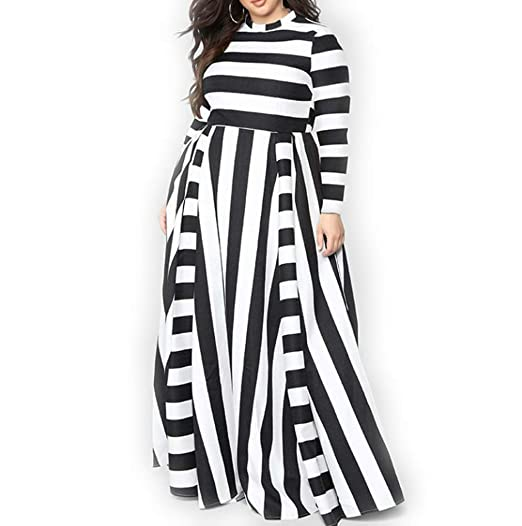 YUHENG Women Plus Size Dress Long/Short Sleeves Stripes Party Dress Long  Maxi Dress