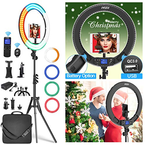 Ring Light with Remote Controller and Stand ipad Holder,Makeup LED Ring Lights 60W Bi-Color 3000K-5800K CRI≥97 & TLCI≥99 with 4 Color Soft Filters for YouTube, Facebook Live,Twitch and Blogging