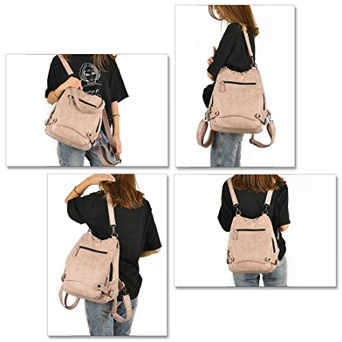 Convertible Security Crossbody Shoulder Large Capacity Washed Purse Artwell Backpack Women Bag Rucksack Pink Leather Ladies v17ftxP