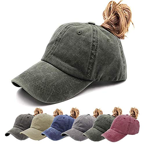 Womens Ponytail Hat Vintage Washed Messy High Buns Ponycaps Baseball Trucker Cotton Adjustable (D1-Army Green(High - Snap Back Cap Hat
