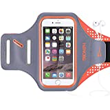 "Triomph Armband for iPhone 8, 7, 6, 6S, SE, 5, 5C, 5S iPod Galaxy S6, S6 Edge S5 with Screen Protecter and Key Cards Money Holder, for Running, Workouts, Jogging, Hiking, Biking, Walking (Orange 5"")"