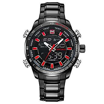 NAVIFORCE Full Black Red Pointers Stainless Steel Watch for