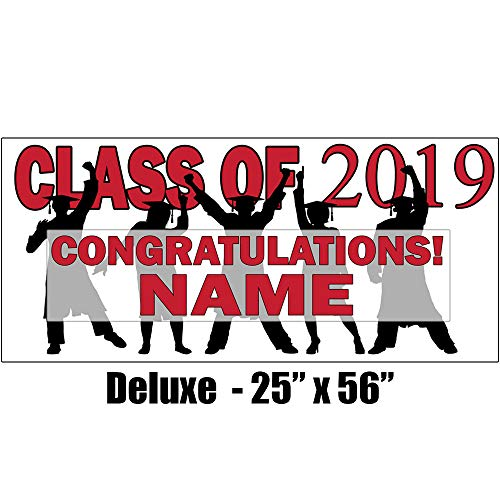 2019 Red Graduation Deluxe Banner (Each) Customized by Partypro from Partypro
