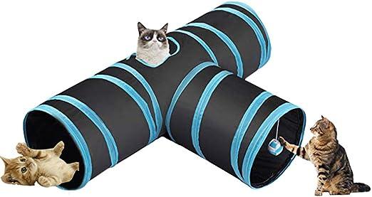 Ranvi Túnel de 3 vías para Gatos, túnel de Juguetes para Mascotas Plegable con Bola para Gato, Cachorro, Gatito, Gatito, Conejo (en Forma de t): Amazon.es: Productos para mascotas