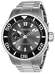 Invicta Men's 'Pro Diver' Mechanical Hand Wind Stainless Steel Casual Watch, Color:Silver-Toned (Model: 22480)
