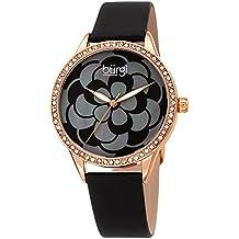 Burgi Women's Watch – Swarovski Crystal Accented Bezel, Beautiful Flower Pattern on Mother of Pearl Dial – Black Satin Leather Skinny Strap BUR203BKR