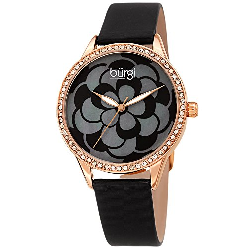 Burgi Women's Watch - Swarovski Crystal Accented Bezel, Beautiful Flower Pattern on Mother of Pearl Dial - Black Satin Leather Skinny Strap - Leather Black Pearl Dial