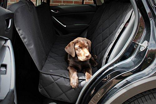 Premium Autoschondecke + 3x Gratis Zubehör (hochwertiger Sicherheitsgurt, nützliches Mikrofasertuch und praktische Tasche mit Reißverschluss).Hundedecke für Haustier, Hunde, Auto, Sitzbezug, Rückbank