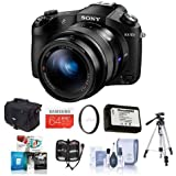Sony Cyber-shot DSC-RX10 II Digital Camera, Black - Bundle with Camera Bag, 64GB Class 10 SDXC Card, Spare Battery, Tripod, 62mm UV Filter, Cleaning Kit, Software Package, Memory Wallet