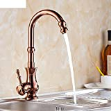 antique copper kitchen faucet pull out HCP Gold rose gold/All copper hot and cold faucet antique porcelain/Basin kitchen faucet can be rotated-B