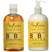 Shea Moisture Calm and Comfort Raw Shea Chamomile and Argan Oil Baby Head to Toe Wash Shampoo and Healing Lotion Pack of 2