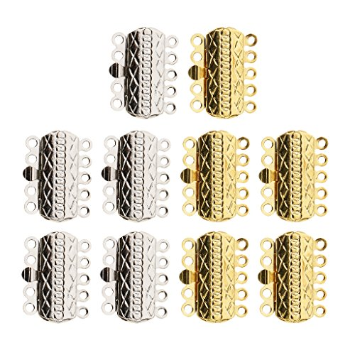 MagiDeal 10 Pieces Gold Silver Plated Pinch Push Clasps 5 Strands 18x15x3mm Buckle DIY Accessories For Jewelry Necklace Bracelet Making Findings