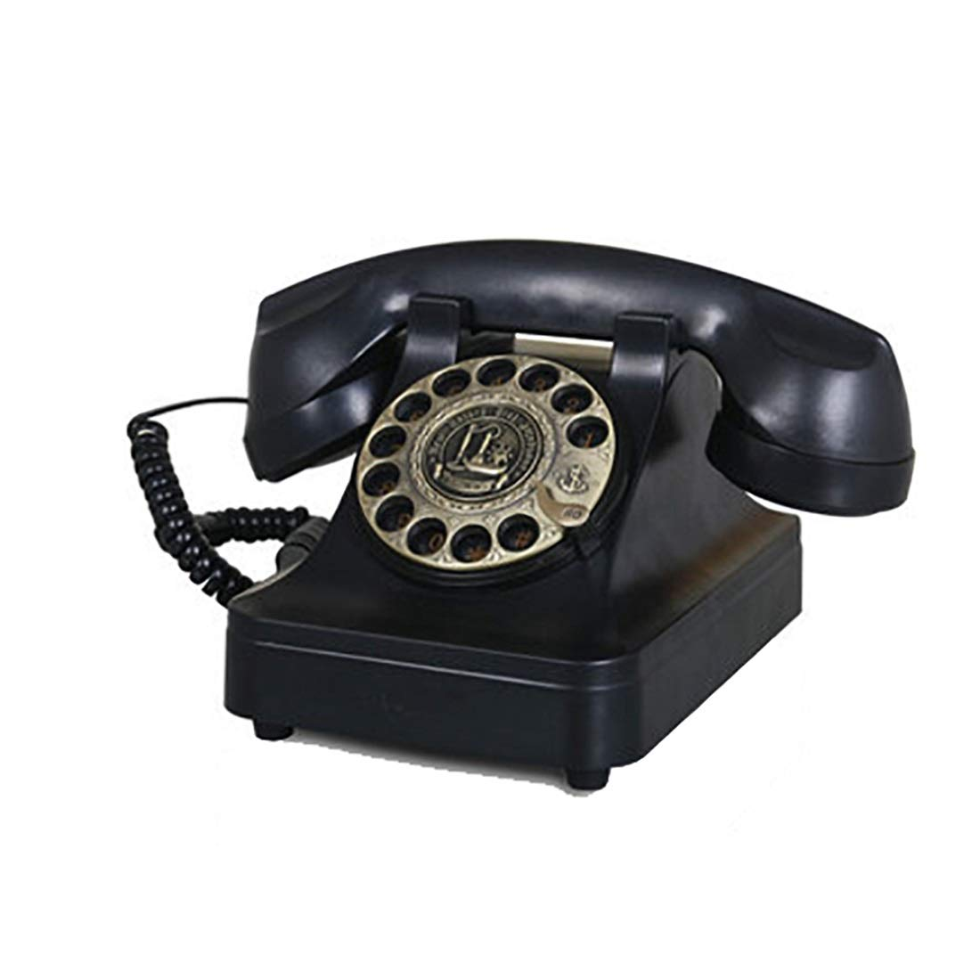 ZHILIAN Black Classic Square European Retro Telephone Landline Fixed Telephone Rotary Dial Home Living Room Decoration Phone