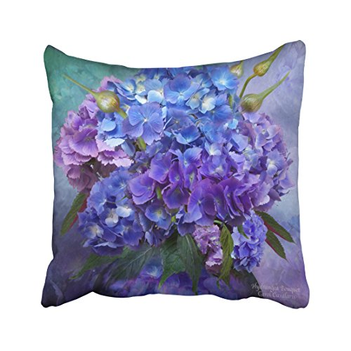 Capsceoll hydrangea art designer pillow Decorative Throw Pillow Case 18X18Inch,Home Decoration Pillowcase Zippered Pillow Covers Cushion Cover with Words for Book Lover Worm Sofa Couch