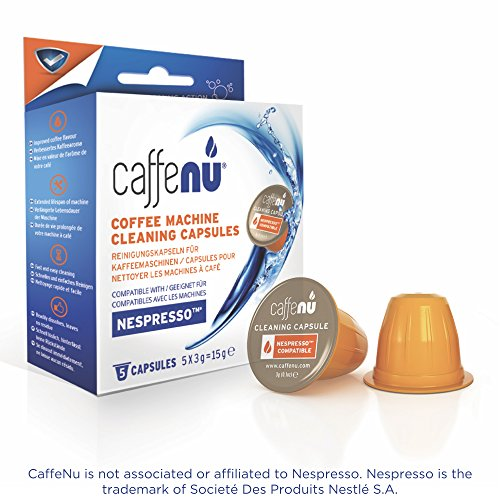 CaffeNu Nespresso Machine Pod Cleaning Capsules, Cleans Brewing Chamber and Exits through Spout, Quick and Powerful Clean, Compatible with Nespresso Originaline, Food Safe, 5 Cleaning Pods ()