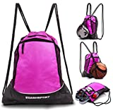 Drawstring Bag with Mesh Net - Perfect Sackpack with Ball Net for all Sports - Gym Bag for Men and Women, Tote Bag, Sports Sack, Light Backpack, Soccer Bag, Basketball, Volleyball, Baseball for Youth