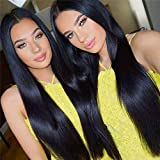Miss CARA Peruvian Straight Lace Front Wig Pre Plucked Bleached Knots Black Straight Wig Human Hair Wigs with Baby Hair Straight Human Hair Wigs for Black Women Nature Color (14inches)