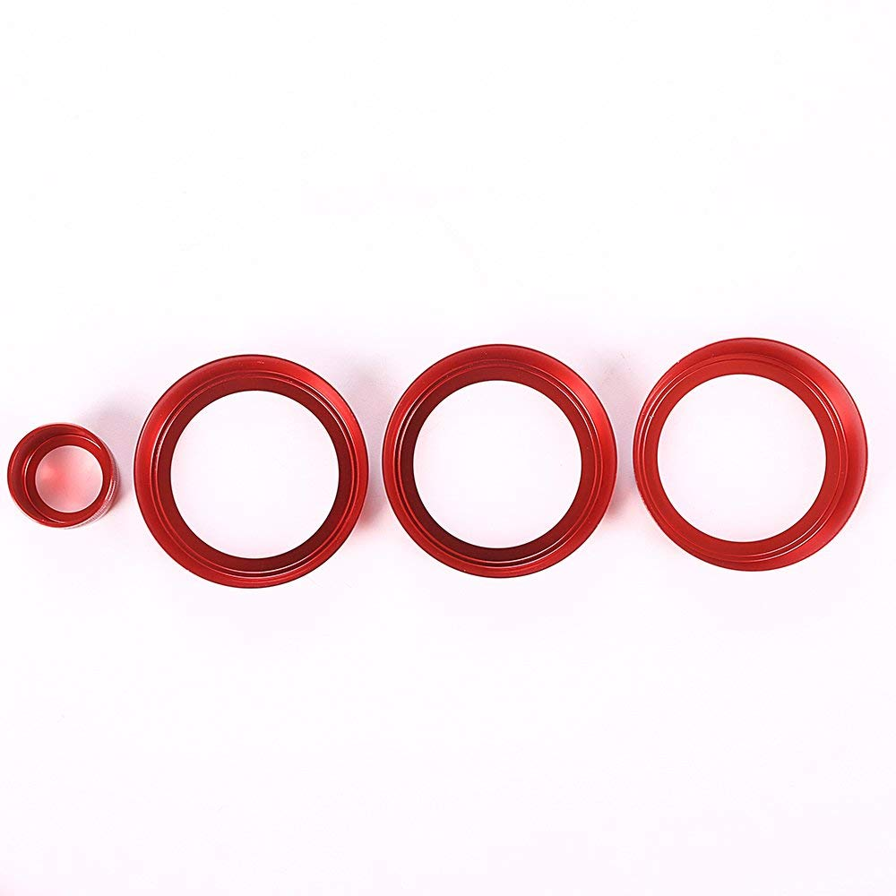 4Pcs/Set for Land Rover Range Rover Sport Vogue Autobiography 2014-2017 Aluminum Alloy Air Conditioning Knob Audio Circle Trim (red) by CHEYA (Image #6)