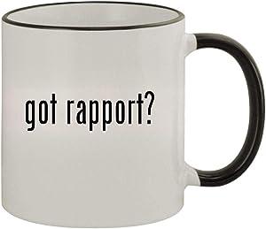 got rapport? - 11oz Ceramic Colored Rim & Handle Coffee Mug, Black