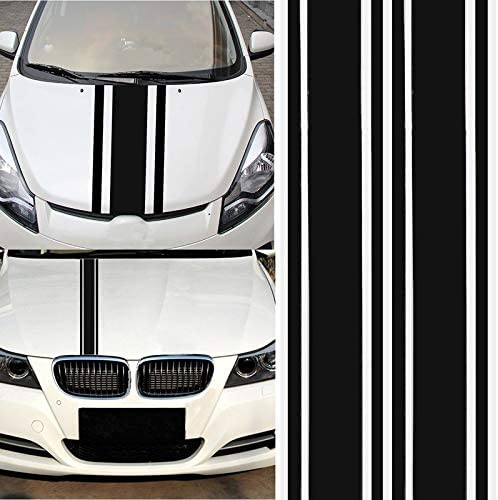 BEESCLOVER Fashion Car Decal Vinyl Graphics Stickers Hood Dual Racing Stripe Universal Use Black