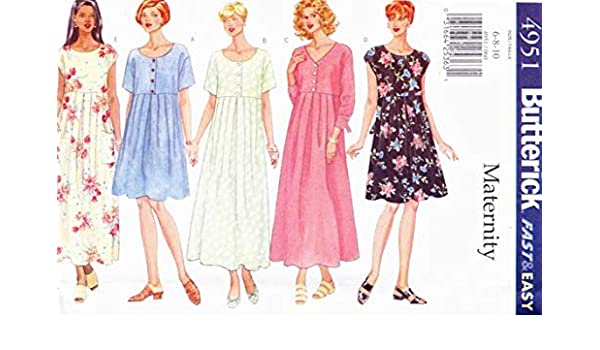 6ab2055b3 Amazon.com: BUTTERICK 4951 Misses Maternity Dress Sewing Pattern Size: 6 8  10: Arts, Crafts & Sewing