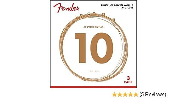 Fender Phosphor Bronze Acoustic Guitar Strings 60L .012-.053 Gauges Ball End 3-Pack