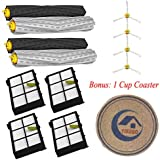 4 individual extractors & 4 HEPA filters & 4 side brushes Tangle-Free Debris Extractor Set & Side Brushes & Hepa Filters replacement Kit For iRobot Roomba 800 series 870 880