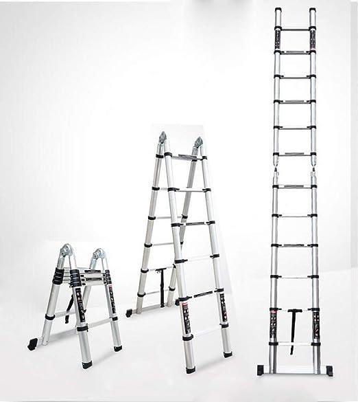 HL-TD Escaleras Extensibles Escalera Plegable con Barra Estabilizadora, Aluminio Extensión Telescópica Alto Multi Purpose Loft Escalera Heces (Size : 5m): Amazon.es: Hogar