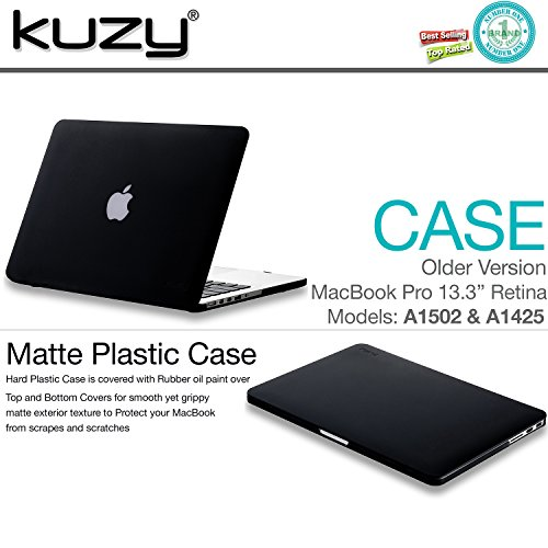Kuzy - Older Version MacBook Pro 13.3 inch Case (Release 2015-2012) Rubberized Hard Cover for Model A1502 A1425 with Retina Display Shell Plastic - Black