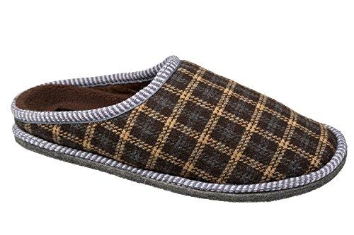 gibra - Zapatillas de estar por casa de tela para hombre marrón oscuro/beige