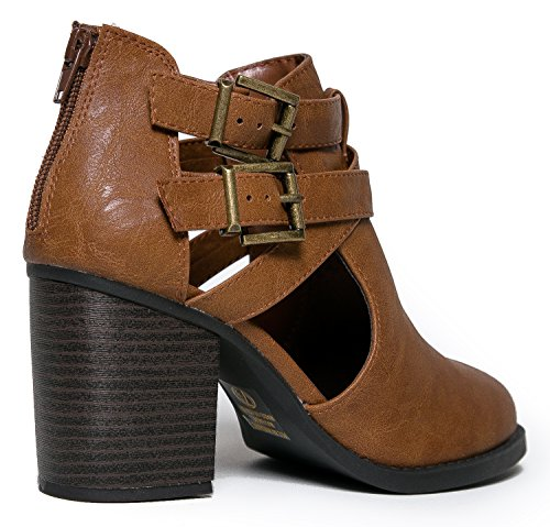 by Heel Low Stacked Bootie Wood Out Vegan Leather Ankle Cut Boot Tan Round J Buckle Western Adams Sammi RzUaqa