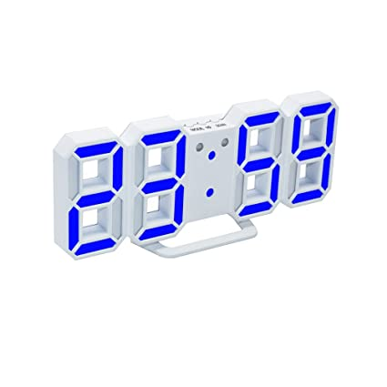 Wall Clocks Modern Home Electronic 3d Numbers Led Digital Alarm Clock Night Light Wall Clock With Snooze Timer white And Blue