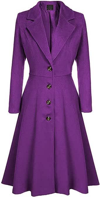 Sematomala Women's Wool Blend Coats Pea Coat Lapel Wrap Swing Flared Winter Long Overcoat Jacket