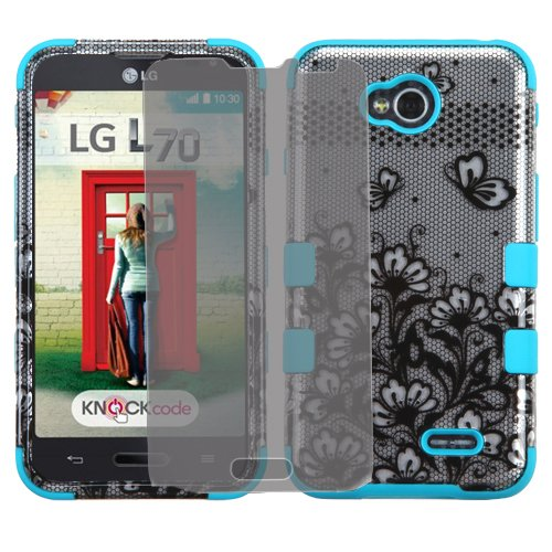 Phonelicious(Tm) For LG ULTIMATE 2 (STRAIGHT TALK) / LG REALM (BOOST) / LG Optimus L70 MS323 (Verizon Sprint TracFone US Cellular Metro Pcs) / LG Optimus Exceed 2 VS450PP 3-Layer Tuff Armor Impact Hybrid Soft Silicone Cover Hard Snap On Plastic Case + Clear LCD Screen Guard Protector + Phonelicious(Tm) Silver Stylus Pen (Black Lace Flowers / Teal)