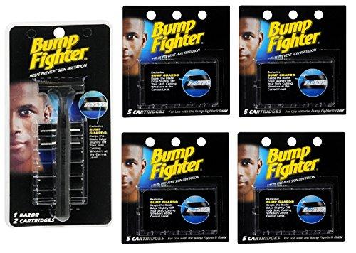 Bump Fighter Refill Razor w/ 2 Cartridges + Bump Fighter Refill Cartridge Blades - 5 ea. (Pack of 4) + FREE Assorted Purse Kit/Cosmetic Bag Bonus Gift