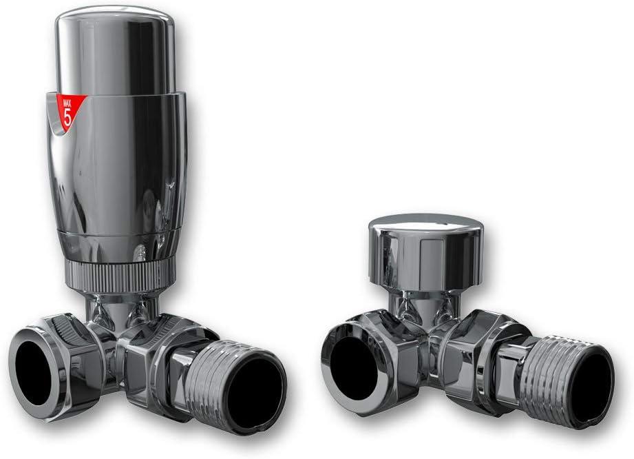 Home Standard - Válvula termostática de radiador de Esquina cromada TRV y válvula de Bloqueo para rieles de Toallas y radiadores de calefacción Central