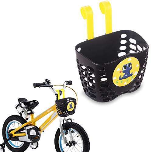 Mini-Factory Kid's Bike Basket, Cute Cartoon Pattern Bicycle Handlebar Basket for Boys Black - Dinosaur