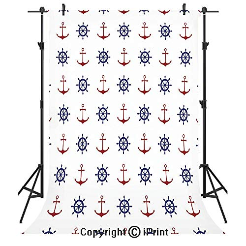 (Anchor Photography Backdrops,Maritime Decor Design Anchors and Ship Wheels on The White Background Print,Birthday Party Seamless Photo Studio Booth Background Banner 3x5ft,Navy Blue and Ruby)