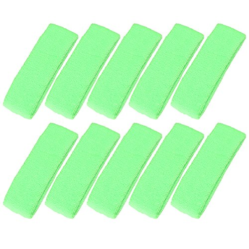 Mallofusa ® 10 PCS Cotton Sports Basketball Headband / Sweatband Head Sweat Band/brace Gift Party Outdoor Activities (Light Green)