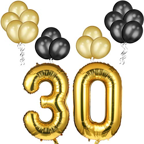 30th Birthday Balloons (30th Birthday Decorations Set 42 Inch Gold 30 Number Balloons with Gold and Black 12 Inch Latex Balloons for Party and 30th Anniversary Event)
