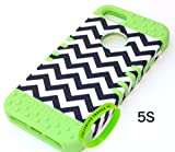 Cellphone Trendz New 3-piece Hybrid Rocker Impact Case for Apple iPhone 5, 5s, 5g - Black and White Chevron Stripes Design Hard Cover on Silicone Skin (Lime Green)