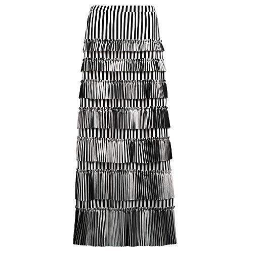 GATHY Women's 7 Tiered Boho Layered Pleated Ruffles Waterfall Maxi Skirt (X-Large, Black-White Stripe)