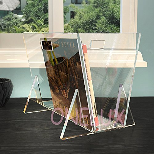 KD Packed Waterfall Acrylic magazine rack,Lucite book /newspaper /brochure pocket - A4 or A5 size (clear) by ONELUX (Image #1)