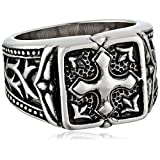 Men's Stainless Steel Casted Textured Cross Ring, Size 11