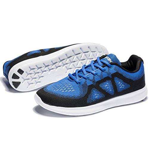 Männer stricken Laufschuhe Cross Training Schuhe leichte Sportschuhe Outdoor-Turnschuhe Blau Schwarz