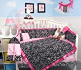 SoHo Baby Crib Bedding 10Pc Set, Black Pink