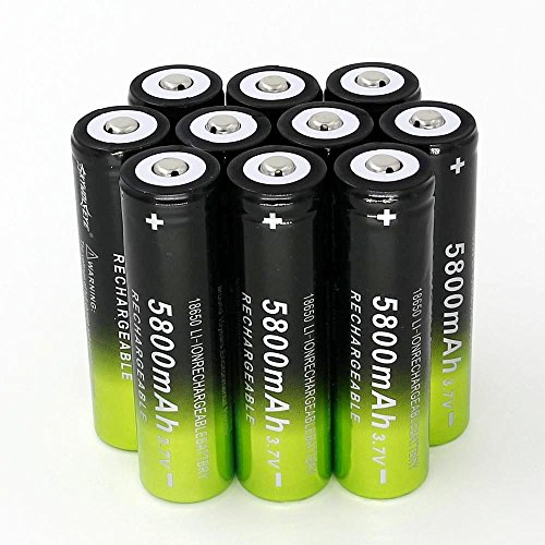 10PCS 3.7V 5800mah Rechargeable 18650 Battery for LED Flashlight(Not AA))